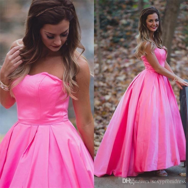Hot Pink Simple Satin Prom Dresses Sexy Strapless A Line Evening ...