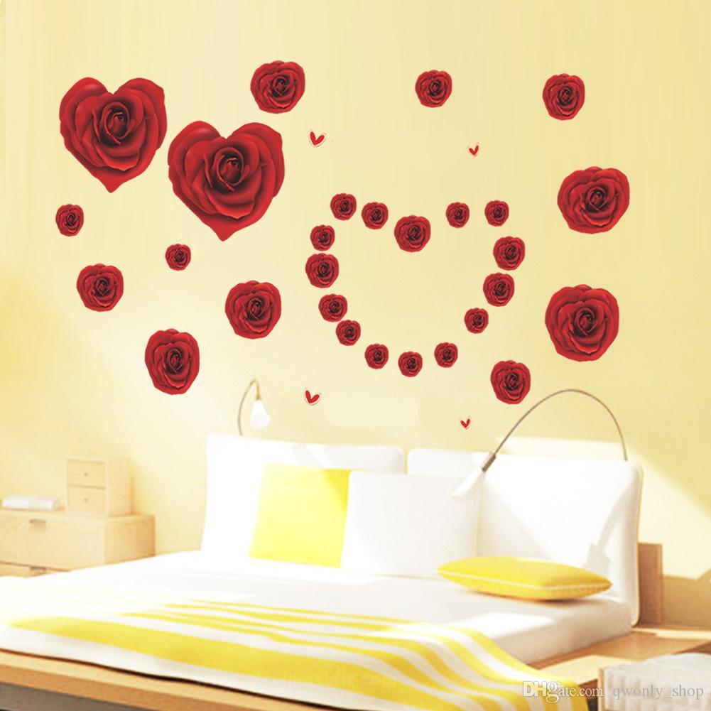 Großhandel Romantische Rose Blume Floral Wandaufkleber Für Mädchen Zimmer  Wohnzimmer Schlafzimmer Home Decor Diy Wandbild Hochzeit Dekoration Mom  Geschenk ...