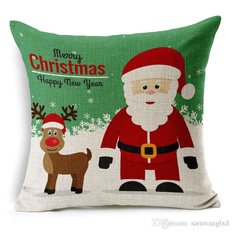 Animal Series Seat Cushions Cover For Sofa Cushions Throw Pillows Christmas Tree Santa Claus Elk Pillowcases For Christmas Decorations Gift