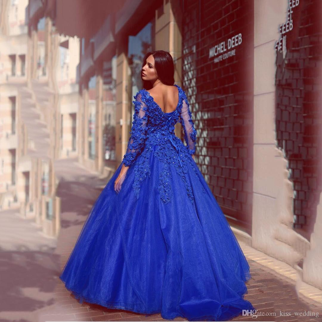 Exquisite Royal Blue Prom Ball Gown Dimond Beads Flowers Full Length Quinceanera Dresses Lace-Up Long Sleeves Evening Gowns