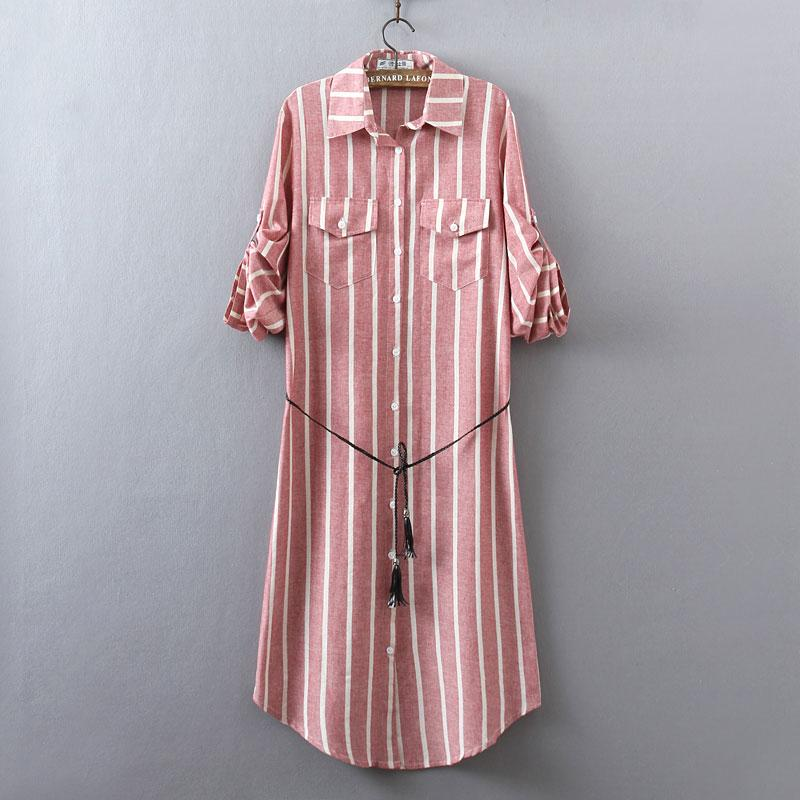 38c8201d653 2019 New Women S Shirt Dress Spring And Summer 2017 Casual Loose Vertical  Stripes Long Sleeve Cotton And Linen Dress Plus Size Female From Bichery