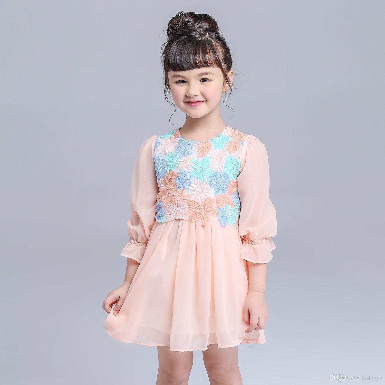 Gestickte Spitze-Blumen-Mädchen-Kleid-Winter-2016 Kinder Kleidung-Kind-Kleid für Prinzessin Holiday Party Hochzeit Kleinkind Herbst