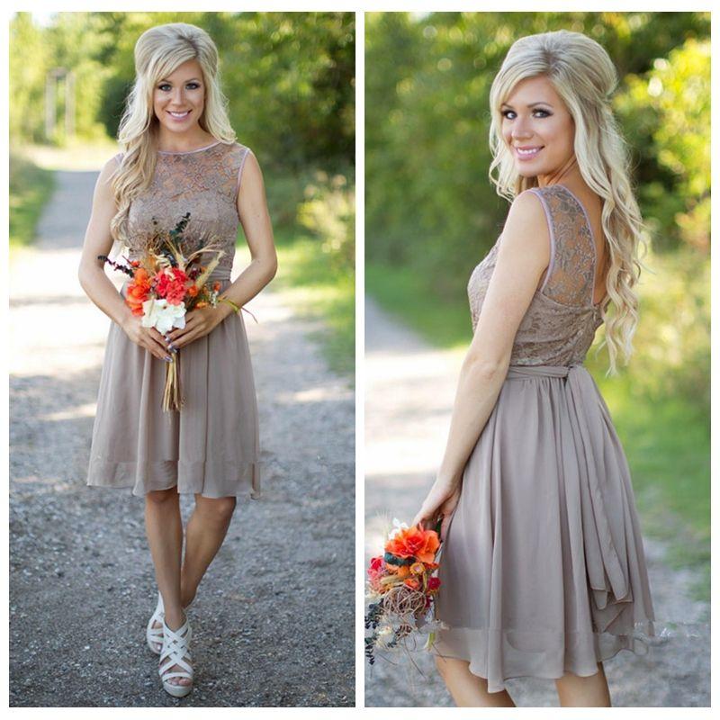 Knee Length Short Grey Lace Top Bodice Bridesmaids Dresses