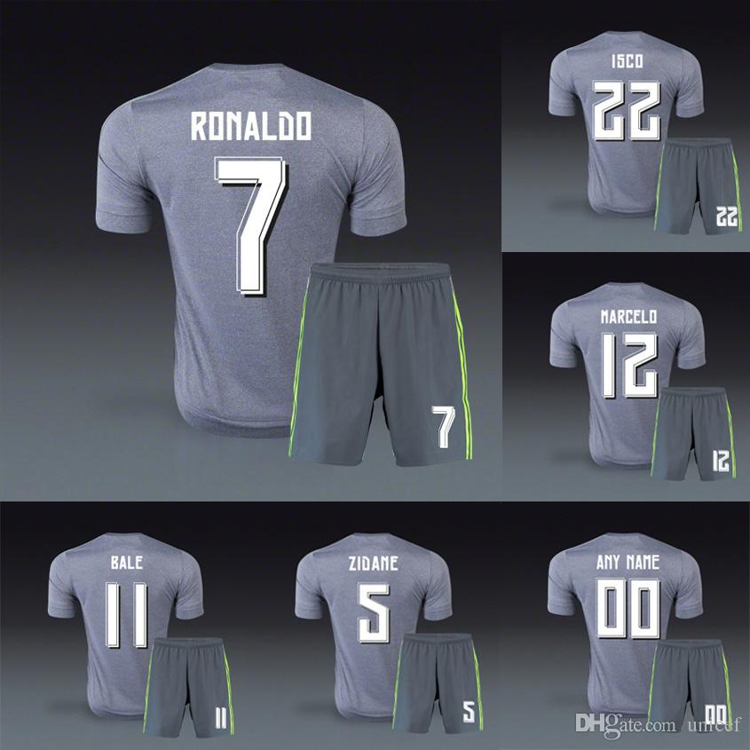 5cc3ee4a3 ... real 2015 16 away grey gray girs camiseta de madrid soccer jerseys  football kits uniforms cristiano