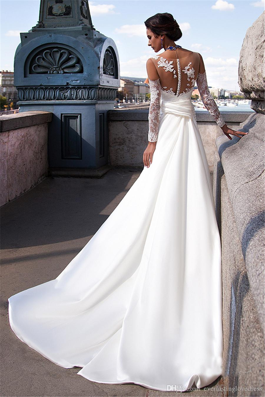 Совок Аппликация Кружева Sheer оболочки Мягкие атласные свадебные платья Длинные рукава Длинные Поезд Белый Debutante платья Бич свадебное платье