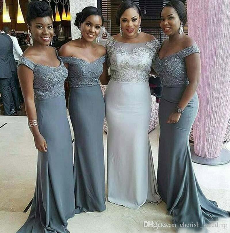 Grey Gowns Wedding: Cheap Off The Shoulder Grey Bridesmaid Dresses 2017 Plus