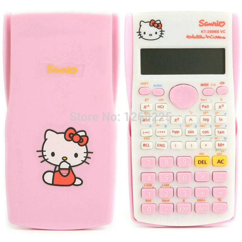 pink cute kawaii student hello kitty scientific calculator function