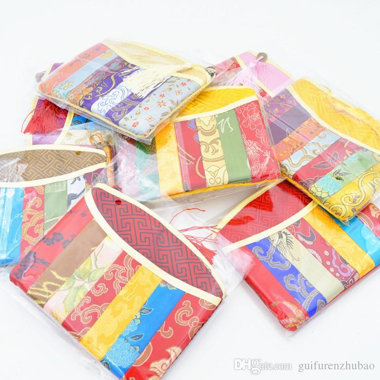 Patchwork moda cremallera monedero bolsa de almacenamiento de joyas artesanía borla de regalo bolsa de embalaje chino brocado de seda pequeñas bolsas de maquillaje cosmético