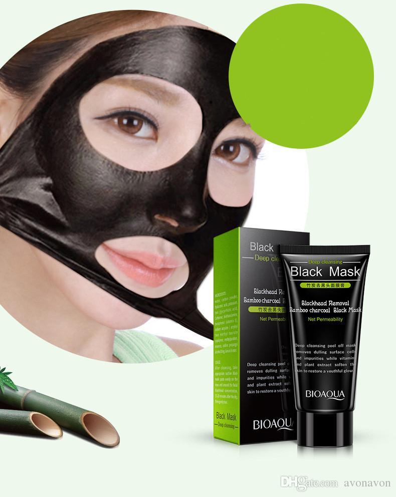 2017 Negro Máscara de succión BIOAOUA 50ml SHILLS Limpieza profunda purificante peel off Máscara facial negra Remove blackhead Peel Masks B265