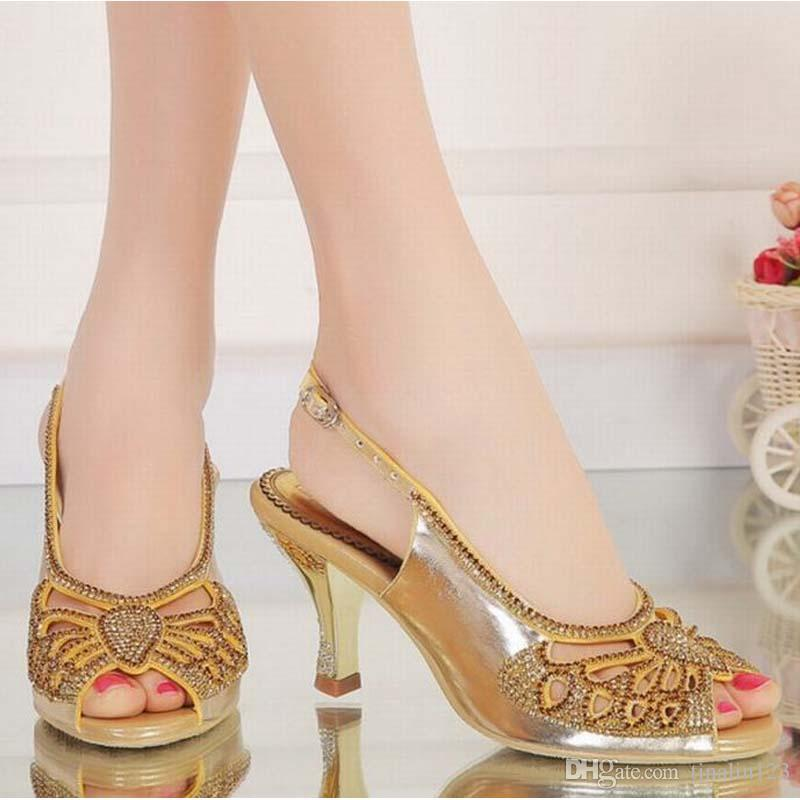 41a33e2eec2 hot large size 34-44 women open toe buckle high heels sandals summer ladies  cut-outs peep toe fashion rhinestone party wedding crystal shoes