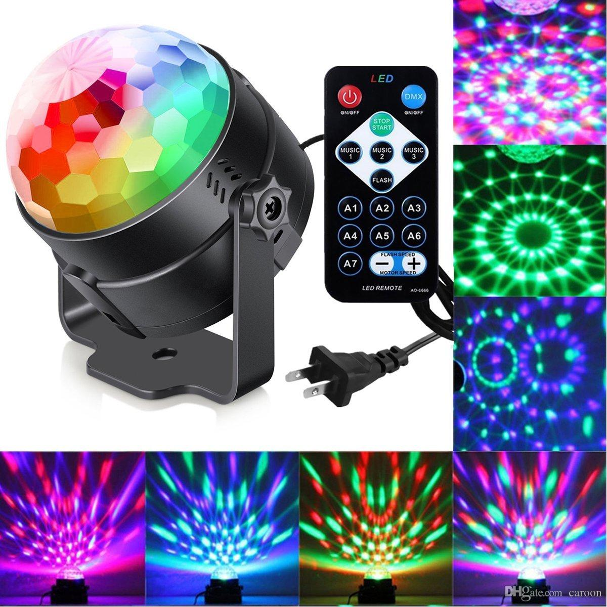 Delightful Sumger 7 Modes Sound Activated Party Lights With Remote Control Dj Lighting,Rbg  Disco Ball,Strobe Stage Par Light For Home Room Dance Partie Theatre Stage  ...