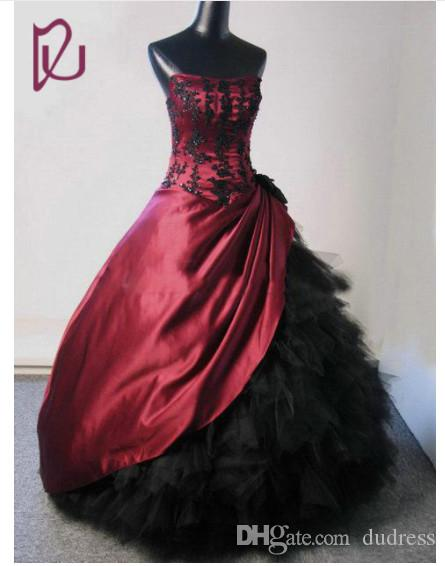 Gothic Wedding Dress With Strapless Neck Beaded Red And Black