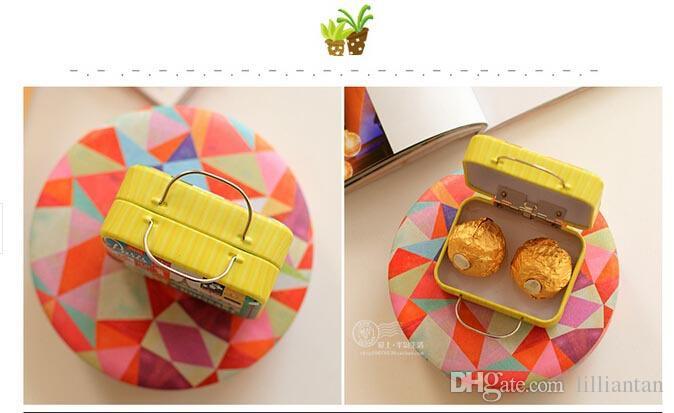 Scatole di caramella della valigia della latta del retro della latta creativa 6 il regalo di evento della festa nuziale Scatole dolci di nozze Contenitore di Jewlery d'annata di nozze