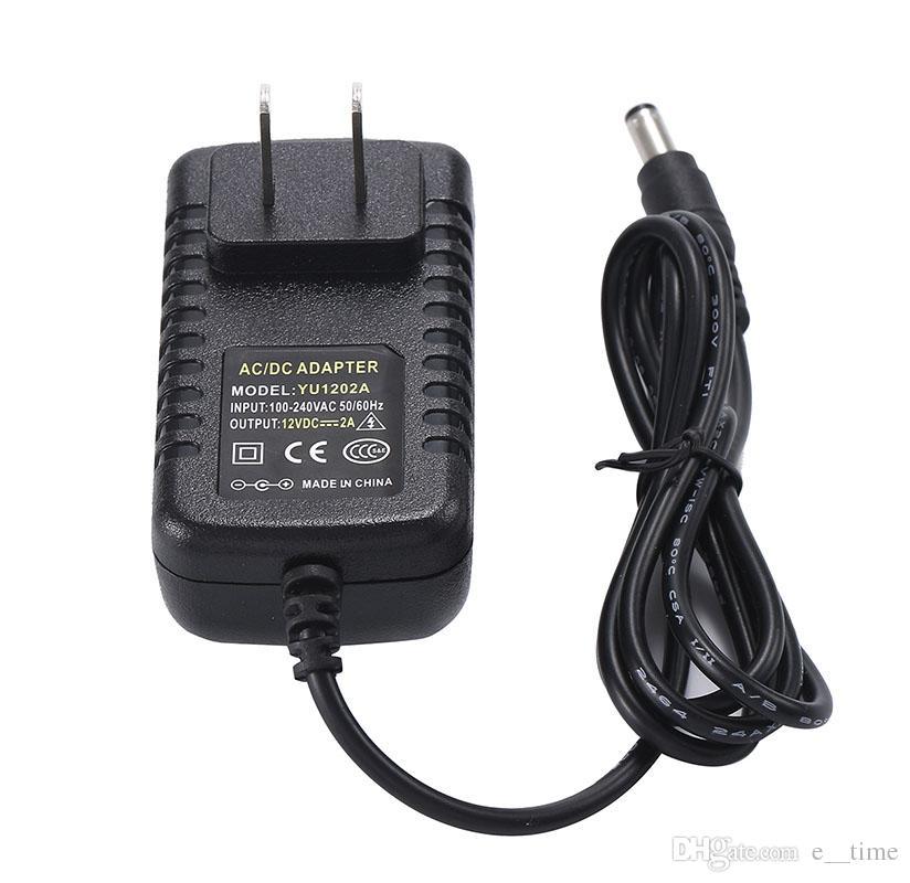 AC DC 12V 2A Power Adapter Supply Transformer 5.5mm x 2.1-2.5mm 24W UK US AU EU Plug With IC Chip DHL