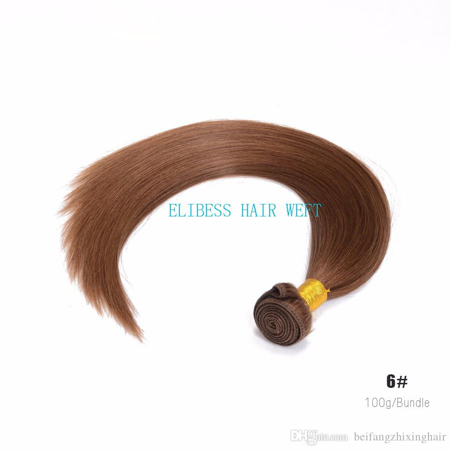 Large Discount-Grade 7A!!#6 light Brown Brazilian Virgin Remy Hair Silky Straight Weave Chocolate Mocha Straight Human Hair Bundles