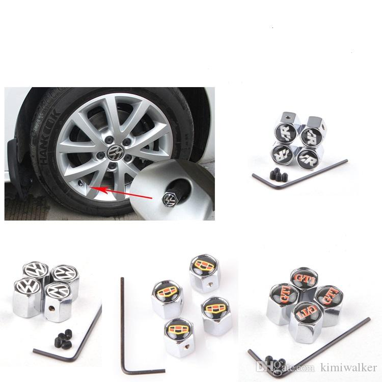 white and black color cross pattern Metal Anti-theft Style Car Wheel Tire Valves Tyre Dust Caps for all car