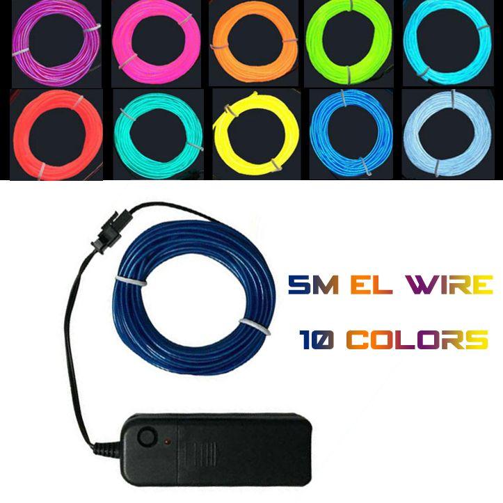 Best 5m Flexible El Wire Rope Tube Flexible Neon Light Car Dance ...