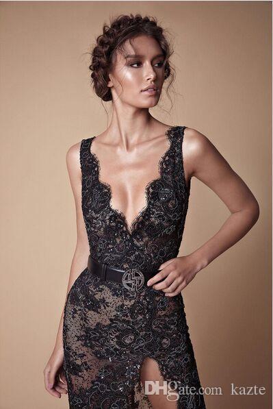 Vestito da spettacolo di spalline in rilievo di pizzo nero con perline 2018 Abito da cerimonia di moda di Berta di moda moderna con scollo a V alla moda