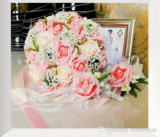 2017 Cheap Artificial Wedding Bouquets In Stock Sparkly Pearls Pink and White Bridal Bridesmaids Bouquet Beautiful Bride Vintage Hand Flower