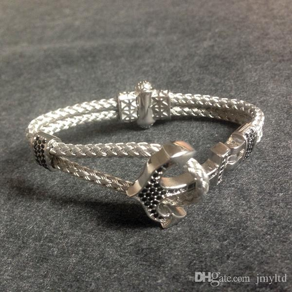 Handmade Steel Wire Cord Nautical Anchor Charm Zircon Silver Color Bracelet For Men