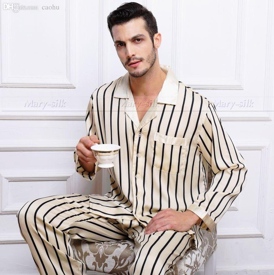 84c496b874 2019 Wholesale Mens Silk Satin Pajamas Set Pajama Pyjamas PJS Set Sleepwear  Loungewear S