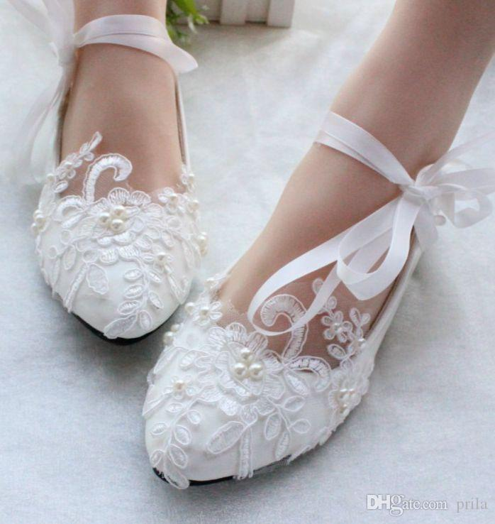 Plus Sizes White Color Lace Flats Wedding Shoes For Womens Ankle ...
