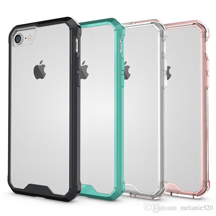 official photos f57a6 dba26 Transparent Air Cushion Shockproof iPhone X cases TPU Acrylic Bumper  Crystal Clear Protective Case for iPhone 8 7 Plus 6 6S Plus