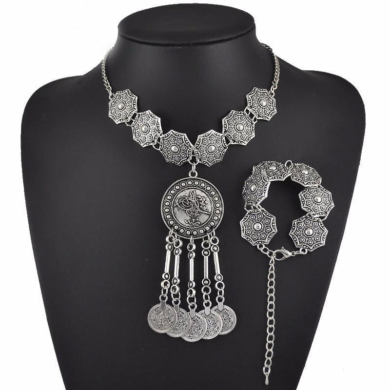 Boho Jewelry Set di gioielli tribali Monete in argento antico Girocollo Bracciale con collana Set di gioielli etnici bohémi