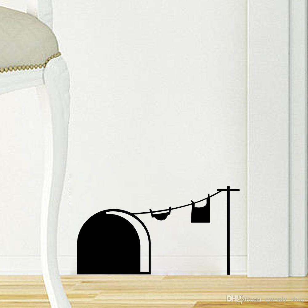 3D Funny Cartoon Mouse Hole Wall Stickers for Kids Rooms Home Decals Decorative Removable Wall Murals Black/White/Grey to choose