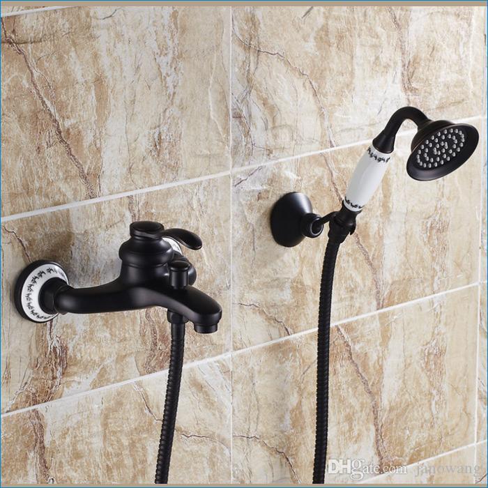antique branco bronze chuveiro torneira do banho, torneiras punho banheira individuais, de montagem na parede torneiras misturadoras quentes e frias, frete grátis J14859