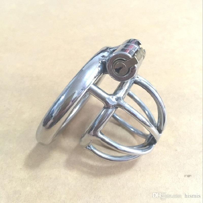 Arco de alta calidad curvado anillo de tarjeta de acero inoxidable dispositivo de jaula de bdsm hombres pene de bloqueo pene anillo de la polla dispositivos de castidad masculinos juguetes sexuales