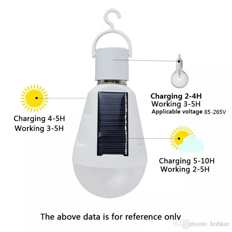 hanging solar energy emergency led light bulb 7w daylight 5500k e27 ip65 waterproof solar panels powered night lamp