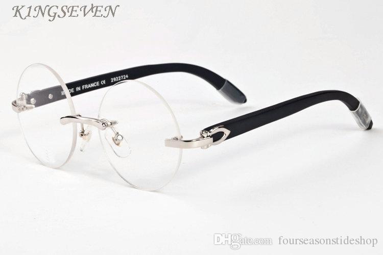 النظارات الشمسية الخشب للرجال الرجعية قرن الجاموس نظارات الإطار الكامل الذهب والفضة الإطار البني العدسات واضحة سوداء نظارات مستديرة مع مربع