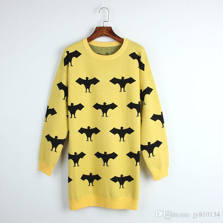 Black Bats Jacquard Yellow Sweater, Female 2017 Winter And Winter ...