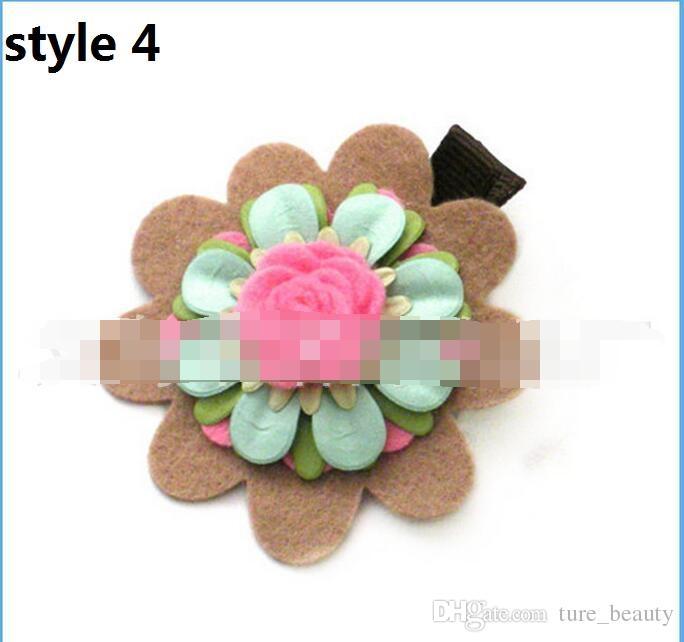 100 pz / lotto Nuovo arrivo Chic Tiny Wool Felt Flower Flower Capelli clip 2016 bambini Hairpin bambini accessori capelli fai da te