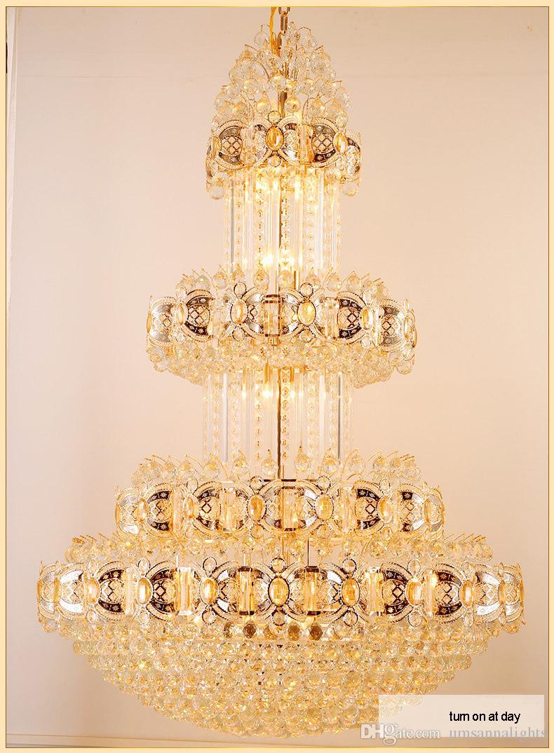 Złoty Kryształowy Żyrandol Ameryka Nowoczesne Żyrandole Światła Oprawa Willa Domowy Oświetlenie Wewnętrzne Hotel Hol Lobby Salon Długie LED Lampy