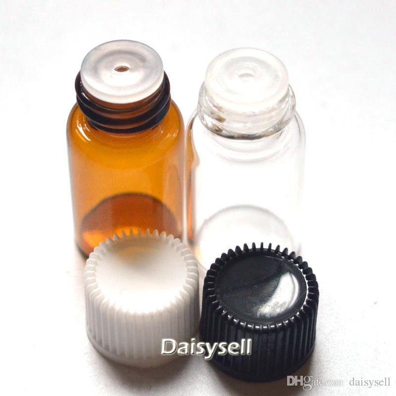 Orificio 3ml Botella pequeña de color ámbar Tapón reductor Botella de aceite esencial Mini viales transparentes Tubos de muestra de perfume Botella de 3 ml