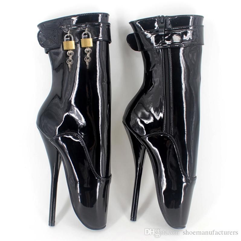 DHL Customized Colors GAGA Sexy Ankle Boots Bellet Heels With Locks Stage Show SM Fetish Boots for Unisex Oversizes BLB-230-9