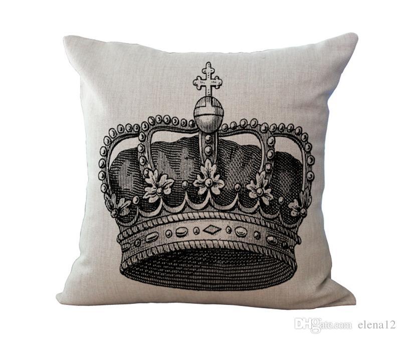 Clásico retro modelos geométricos en blanco y negro funda de almohada cojín Crown Tower funda de almohada Funda de almohada creativa Decorativa 240444
