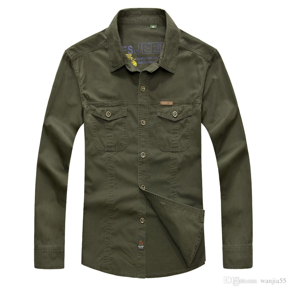 Men Clothing 2016 military quality men's casual brand army green shirts man autumn 100% cotton khaki black long shirt