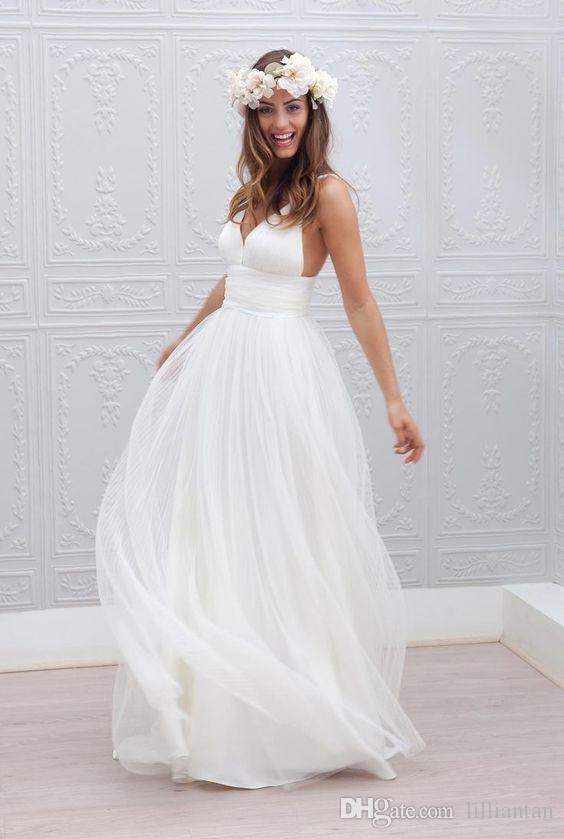 Robes de mariée de plage simples à paliers en tulle Robes de mariée occasionnelles Sexy dos nu robe de mariee Spaghetti col en V robes de mariée