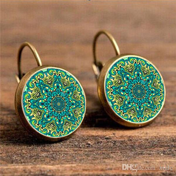 2017 Vintage Ear Hook boho Round Party Stud Earrings Handmade Circle Flower Time Gems Earring for Women Fashion Jewelry