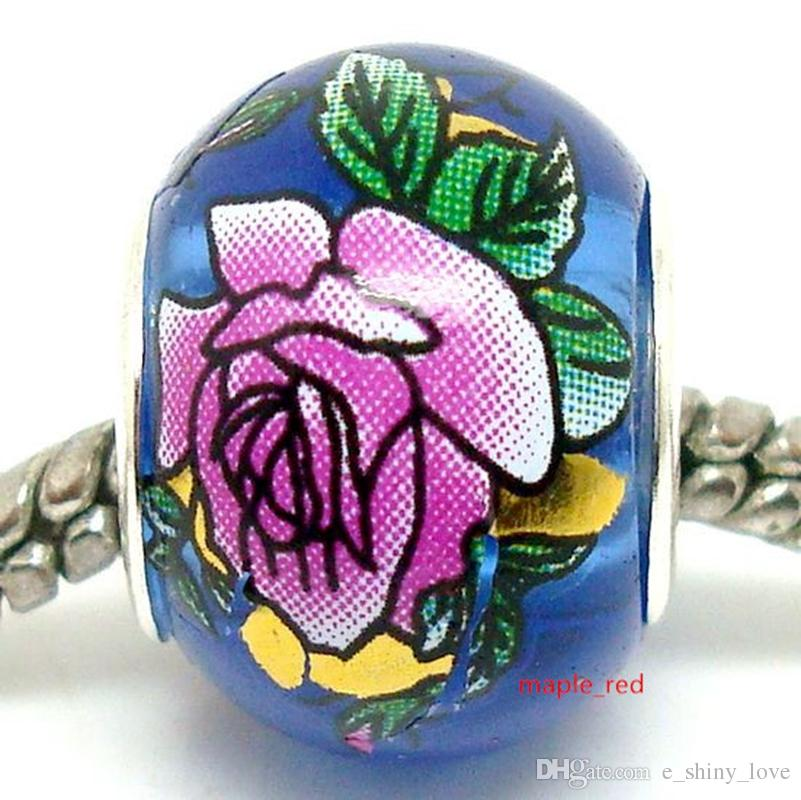 Round Mix Royal Blue Flower Crystal Beads for Jewelry Making Loose Lampwork Charms DIY Beads for Bracelet Wholesale in Bulk Low Price