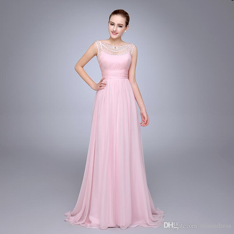 Hs10 Best Selling Pleated Beaded Woman Dress Chiffon Pink Fromal ...