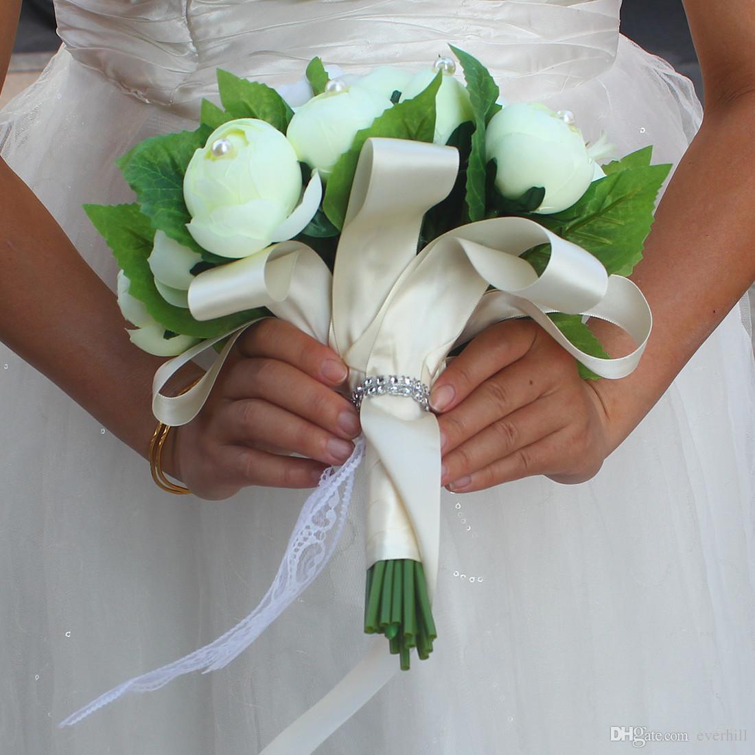 Jane Vini hermoso té artificial rosa flores de la boda ramo de novia de la novia ramo con perlas marfil ramo de matrimonio de Mariage 2018