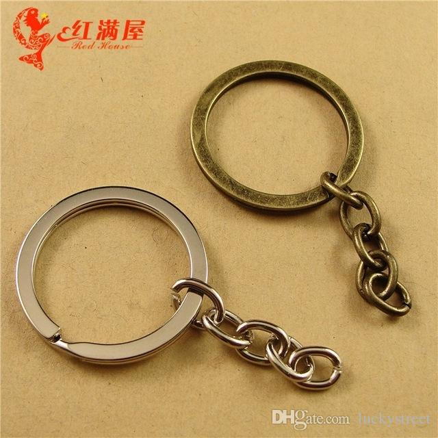 A3332 30*3*2MM/34MM Antique Bronze split key ring clasps and hooks, DIY jewelry accessories wholesale key holder, silver key hanger