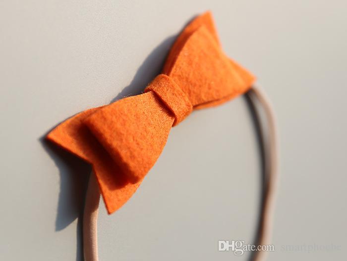 Boutique Mode Mignon Feutre Bowknot Bandeaux Solide Princesse Arc Nouveau-né Doux Bandeaux Princesse Photographie Headware