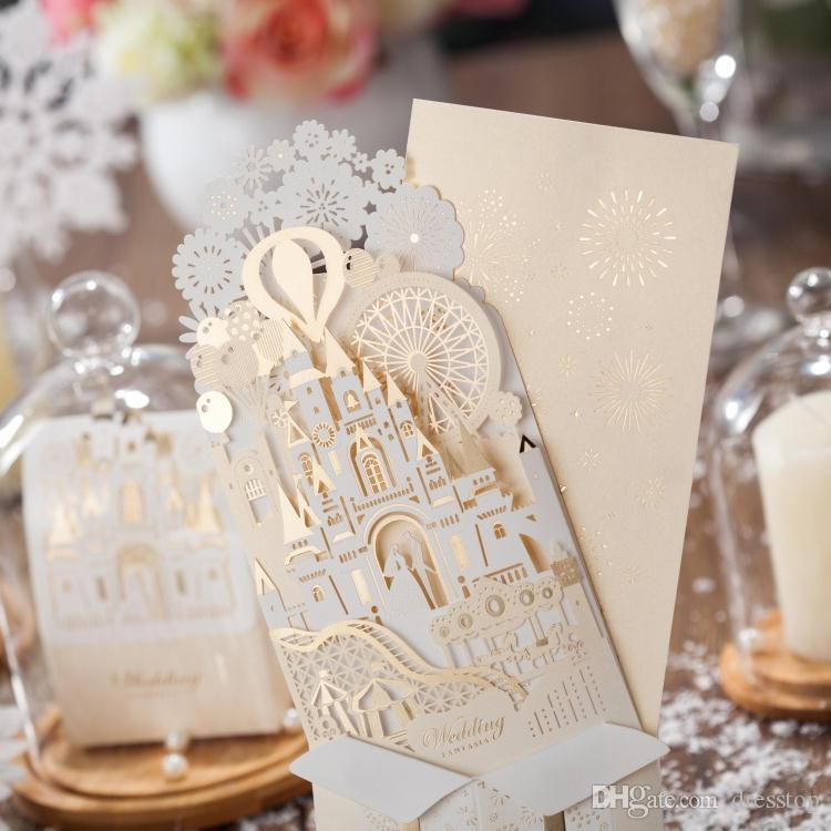 Romantic Hollow Castle Wedding Invitation Cards Three Folds Personalized Party Printable Invitation Card With Envelope Sealed Card