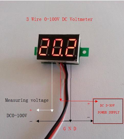 MIGLIORE Voltmetro auto DC 0-100V Voltmetro digitale portatile Pannello LED rosso chiaro Accessori misuratore di tensione auto