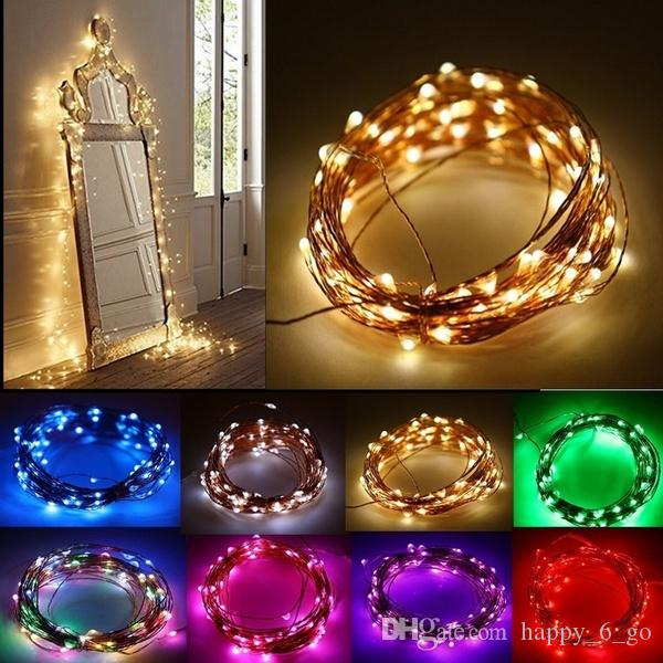 10m 33ft Copper Wire 100 Led String Lights, 3 Aa Battery Powered ...